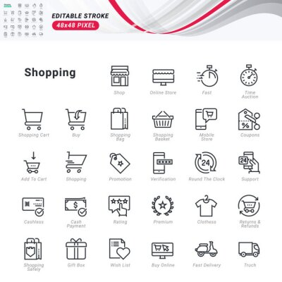 Thin line icons set of shopping. Premium quality outline symbols, editable stroke. Pixel perfect. Vector illustrations for website and app development, business presentation, marketing material.