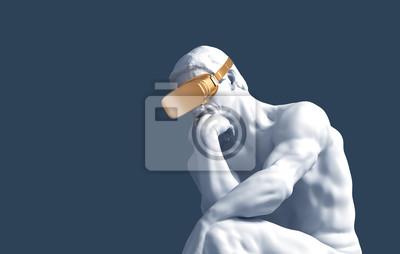 Thinker With Golden VR Glasses Over Blue Background