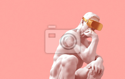 Thinker With Golden VR Glasses Over Pink Background