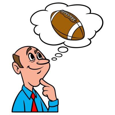 Thinking about Football - A cartoon illustration of a man thinking about Football.
