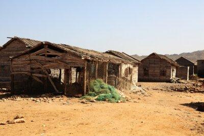 Naklejka Third World Fishing Village Arabian Sea Karachi Wooden Huts