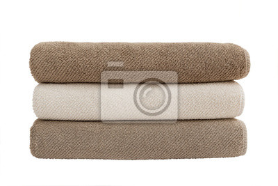 Three bath towels isolated over white