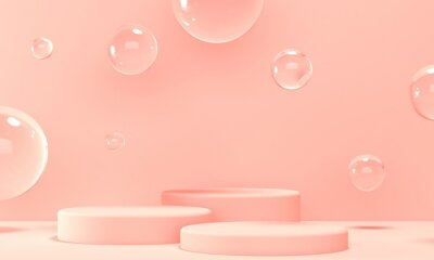 Three podiums for cosmetics on a pink background with transparent flying bubbles. Backdrop design for product promotion. 3d rendering