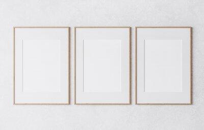 Naklejka three wooden frame on white wall, frame mockup, 3d render