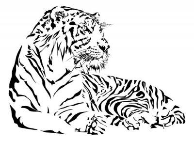 Naklejka Tiger w czerni i bieli