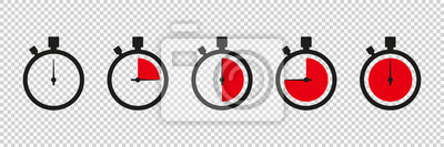 Naklejka Timers icon on transparent background. Isolated vector elements. Stopwatch symbol. Vector countdown circle clock counter timer. Fast time icon. Circle arrow icon.