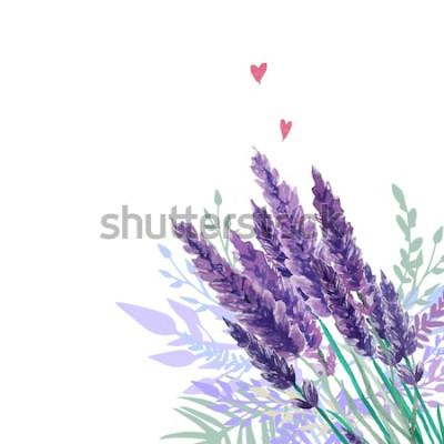 Naklejka Tle akwarela lawenda bukiet. Rama z ręcznie malowanymi roślinami w stylu vintage, kwiatowym wystrojem i sercami. Ilustracji wektorowych.