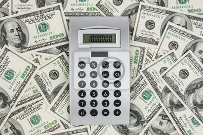 Tło 100 dolarów rachunki i kalkulator