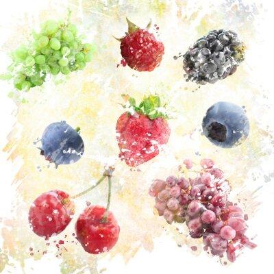 Naklejka Tło akwarela owoce