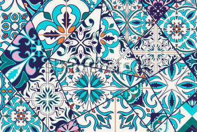 Naklejka Tło dekoracyjne. Mozaiki patchwork wzór dla procedury i mody. Płytki portugalskie, Azulejo, marokańskie ozdoby