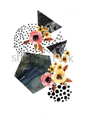 Naklejka Tło jesień: spadające liście, kwiaty, elementy geometryczne. Akwarela ilustracja z liści, trójkąty, marmur, kolor wody, kulas tekstury na jesień projekt. Ręcznie malowane akwarele