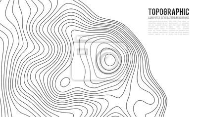 Naklejka Tło konturu mapy topograficznej. Mapa Topo z elewacją. Wektor mapy konturu. Geograficzna światowa topografii mapy siatki abstrakcjonistyczna wektorowa ilustracja. Projekt mapy linii szlaku górskiego.