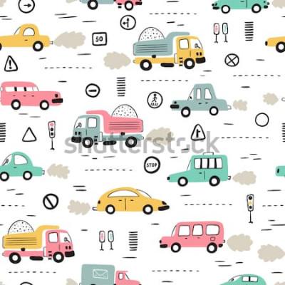 Naklejka Tło kreskówka transport dla dzieci. Wektorowy Bezszwowy wzór z doodle Zabawkarskimi samochodami i znakami drogowymi