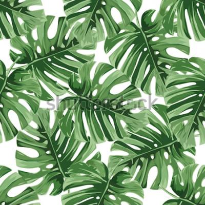 Naklejka Tło lato. Tropikalne liście palmowe, dżungla pozostawia bez szwu wektor kwiatowy wzór