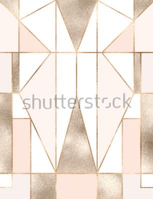 Naklejka Tło w stylu art deco ze złotym brokatem kształty geometryczne, trójkąty, prostokąty, linie, kwadraty.