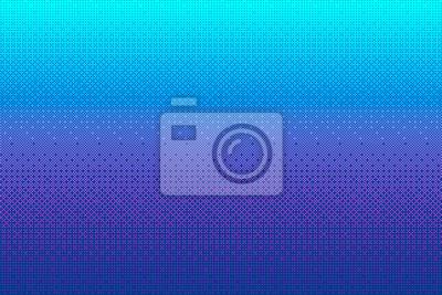 Naklejka Tło wzór pikseli w kolorze niebieskim, różowym, fioletowym. Cyan 8-bitowa ilustracja wektorowa gry wideo. Streszczenie tekstura półtonów. Retro gra zręcznościowa