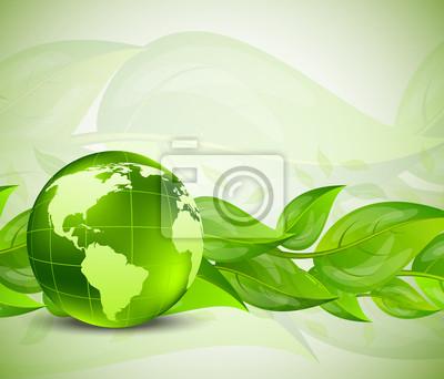 Tło z liści i na świecie