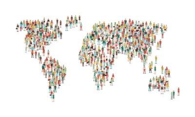 Naklejka Tłum ludzi tworzących mapy świata