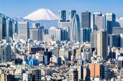 Naklejka Tokio im Winter mit Fujiyama im tła