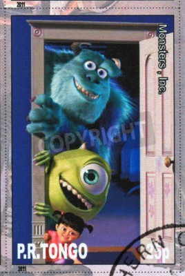 Naklejka Tongo - OKOŁO 2011: Stempel drukowane przez Tongo, pokazuje, postać z kreskówki, Monsters Inc, około 2011