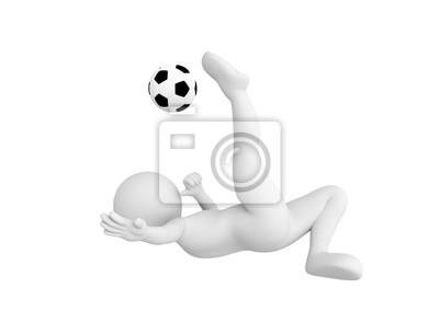 Toon mężczyzna piłka nożna strzelanie graczem w piłkę przewrotką stwarzają. Koncepcja nożna.
