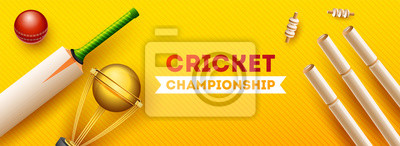 Naklejka Top view of cricket equipments such as golden trophy, wicket stump, bat and ball on yellow strip background, Cricket Championship header or banner design.