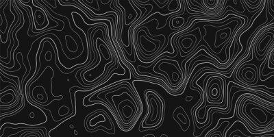 Naklejka Topographic contour map on dark background. Vector grid map.