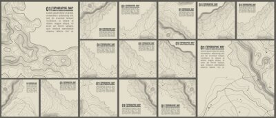 Naklejka Topographic pattern texture vector Set. Grey contours vector topography. Geographic mountain topography vector illustration. Map on land vector terrain. Elevation graphic contour height lines.