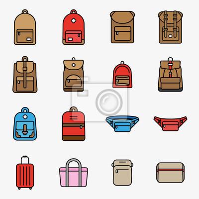 Torba podróżna i plecak Minimalna kolorystyka linii prostej Ikona skoku Ikona piktogramu Zestaw ilustracji symboli Zestaw kolekcji