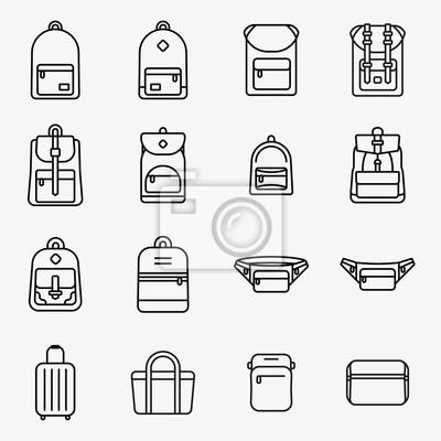 Torba podróżna i plecak Minimalna linia prostokątna Ikona paska Piktogram Zestaw ilustracji symboli Kolekcja