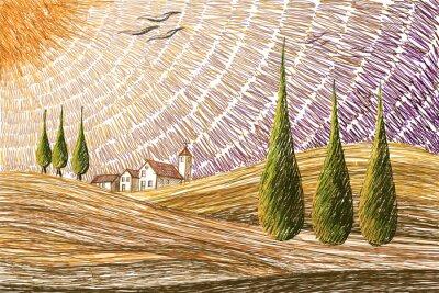 Naklejka Toskański krajobraz - cyfrowy obraz koncepcja