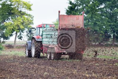 Naklejka Tractor fertilizing field with dunk