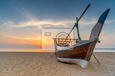 Naklejka Traditional Arabian boat on a beach, Qatar