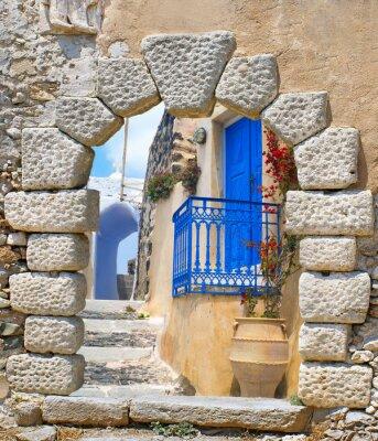 Naklejka Traditional architecture of Oia village on Santorini island, Gre
