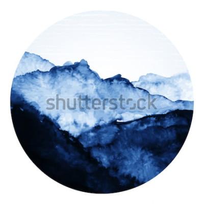 Naklejka Tradycyjna sztuka azjatyckiego atramentu z górami. Ilustracja wektorowa sztuki.