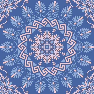 Naklejka Tradycyjne rocznika bez szwu różowy, biały i niebieski okrągły kwiatowy ornament grecki, Meander