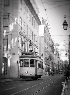 Naklejka Tramwaj w Lizbonie, retro