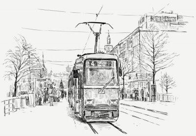 Naklejka tramwajowych w wielkim mieście