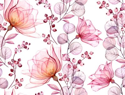 Naklejka Transparent rose watercolor seamless pattern. Hand drawn floral illustration with pink berries for wedding design, surface, textile, wallpaper