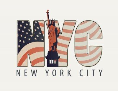 Naklejka Transparent wektor z literami NYC z wizerunkiem amerykańskiej flagi i Statua wolności na jasnym tle