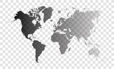 transparent world map on transparent background