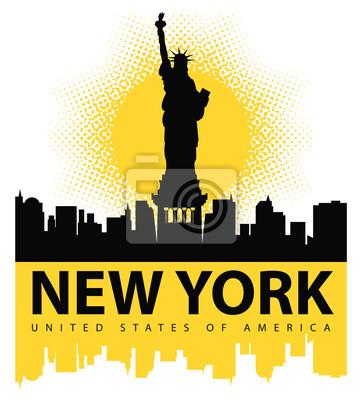 Naklejka transparent z Statua Wolności na tle Nowego Jorku, a słońce