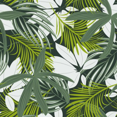 Naklejka Trending abstract seamless pattern with colorful tropical leaves and plants on green background. Vector design. Jungle print. Floral background. Printing and textiles. Exotic tropics. Fresh design.