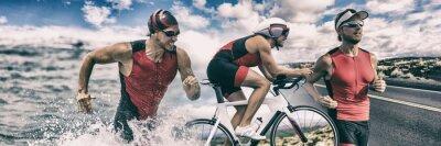 Naklejka Triathlon sport banner man running , swimming, biking for competition race background. Triathlete swim bike run composite.