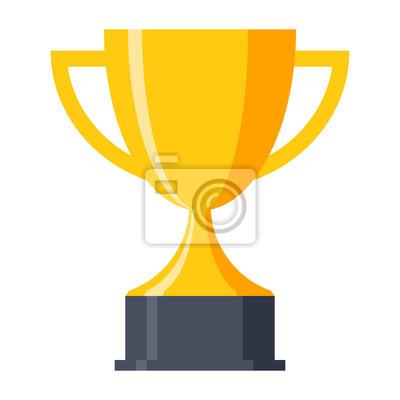 Naklejka Trofeum puchar, nagroda, ikon wektorowych w stylu płaskiej