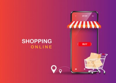 Naklejka Trolleys full of boxes, parcels, balloons, buttons, shopping icons and smartphone stores floating on the purple background,vector 3d  delivery and shopping online concept design