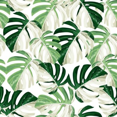 Naklejka Tropic summer painting seamless pattern with exotic monstera leaves.