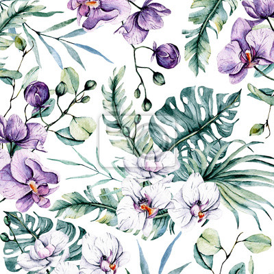Tropical background with watercolor flowers orchids and leaves for design wedding invitation, greeting, wallpaper, fashion, texture, wrapper, postcard, logo, etc. Hand painting.