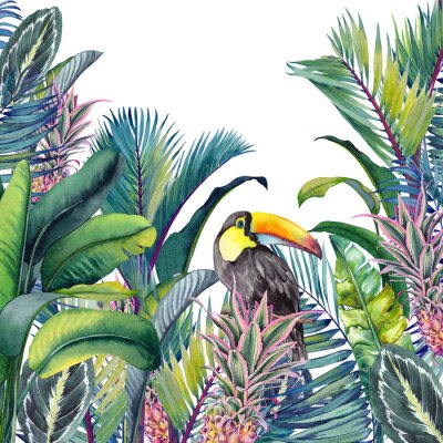 Naklejka Tropical card with Toucan, palm trees, pineapples, banana and calathea leaves. Watercolor illustration on white background.