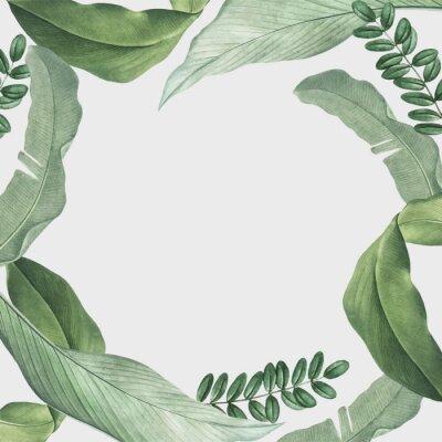 Naklejka Tropical leaves frame
